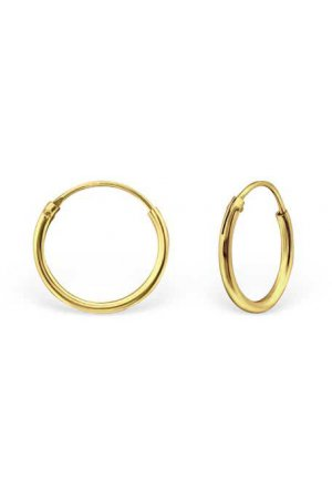 12mm gold plated Ear Hoops | Mooiesieraden.nl