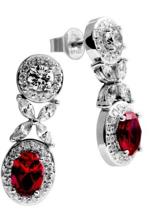 Diamonfire - Zilveren oorhangers Royal Colors - Zirkonia - Entourage - Rood