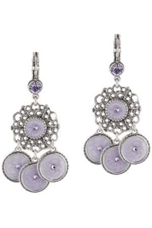 Dolce Luna bijoux Earrings purple Pretty pastel verzilverd met Swarovski Kristal purple