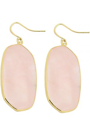 Edelstenen oorbel Big Rose Quartz Gold