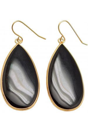 Edelstenen oorbel Big Teardrop Black Agate Gold
