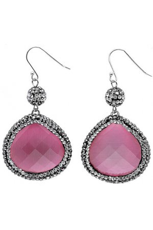 Edelstenen oorbel Bright Old Pink Cat's Eye