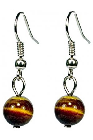 Edelstenen oorbel Dangling Tiger Eye