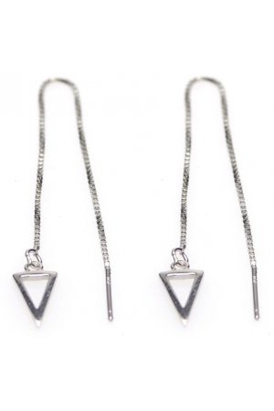 Karma Pull Through Triangle Silver Oorbellen M1801