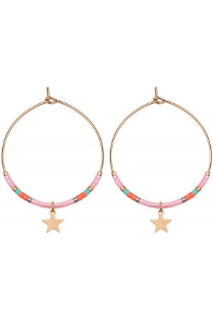 Klein Hoops Star & Beads Roze goud