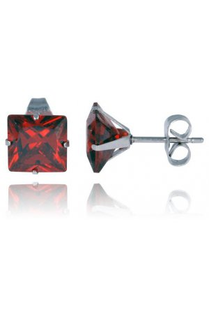 LGT Jewels Stud oorbellen Edelstaal Classic Red 6mm