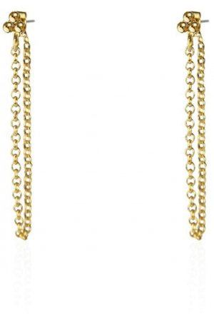 Little Dots Chain Oorbellen Extra long goud