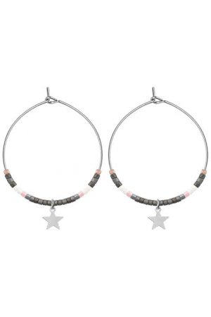 Medium Hoops Star & Beads Grey goud