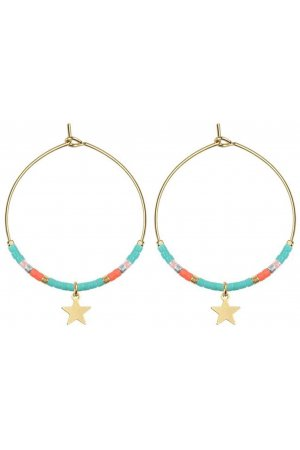 Medium Hoops Star & Beads Turquoise goud