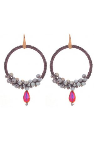 PURPLE BEADED HOOPS