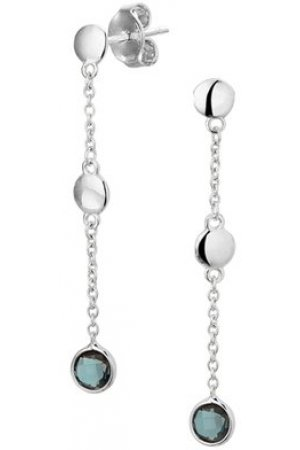 The Fashion Jewelry Collection Oorhangers London Blue Topaas - Witgoud