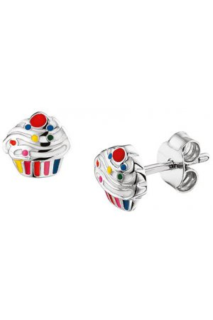The Kids Jewelry Collection Oorknoppen Cupcake - Zilver Gerhodineerd