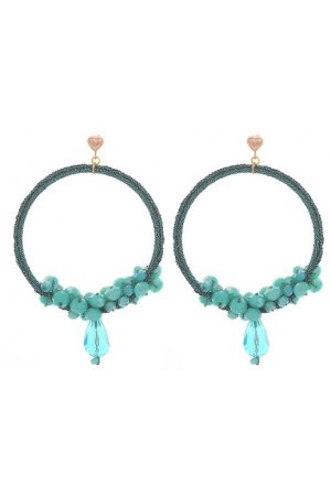 TURQUOISE BEADED HOOPS ROSE-GOLD