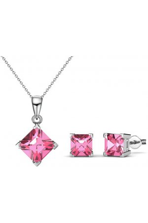 Yolora swarovski elements ketting en oorbellen set (roze)